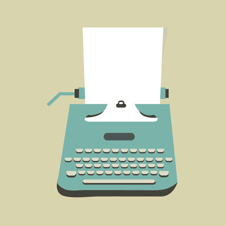 scriptwriter: Mid century illustration with retro typewriter and paper sheet