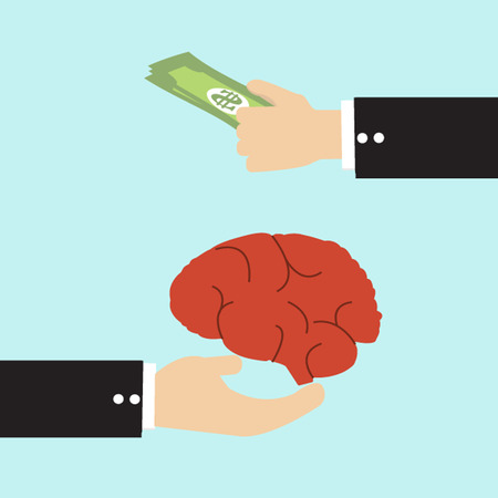 qualitatively: Businessman transfer money with brain, human idea concept. Illustration