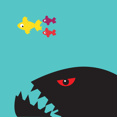 Giant fish is ready to hunting small fish. Business enemy concept. Vectores