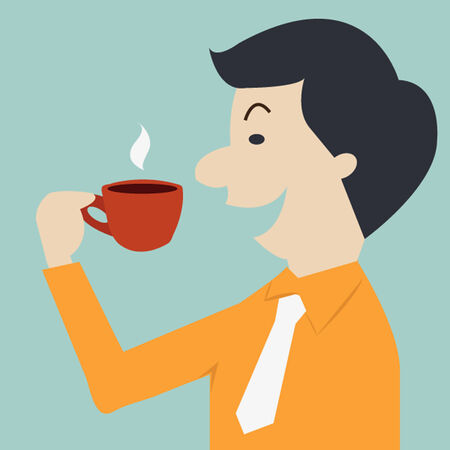 Business man drinking coffee. Vector