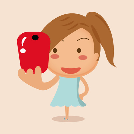 woman cellphone: beautiful girl traveling and taken pictures of her self, selfie. Illustration
