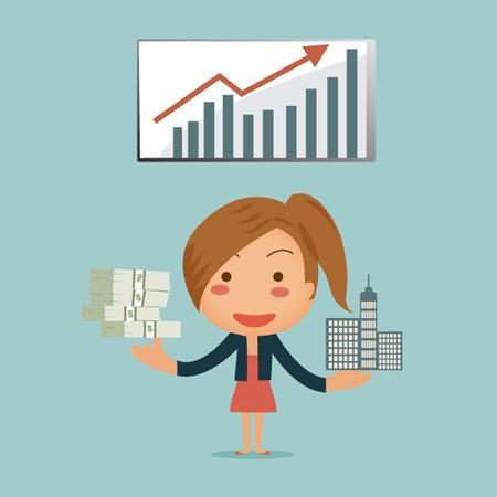 그래프 배경의 자산 뿅 그녀 수동 소득을 보여주는 비즈니스 여자