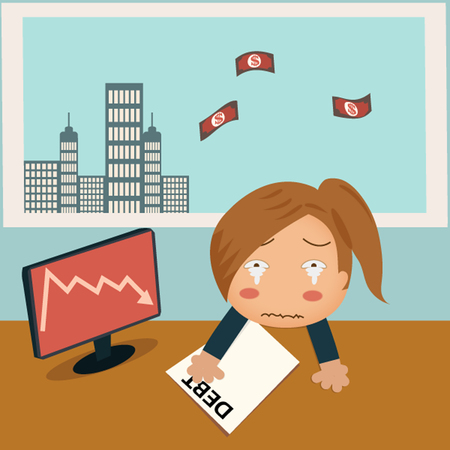 depressed woman with laptop over open window and money flying out.Financial concept Stock Vector - 27297234