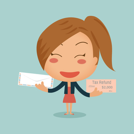 counterfeit: Business woman showing tax refund cheque sent by mail in her hands Illustration