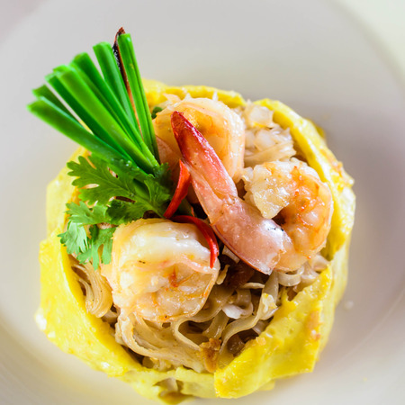 Fried noodle with shrimps. Phad Thai. photo