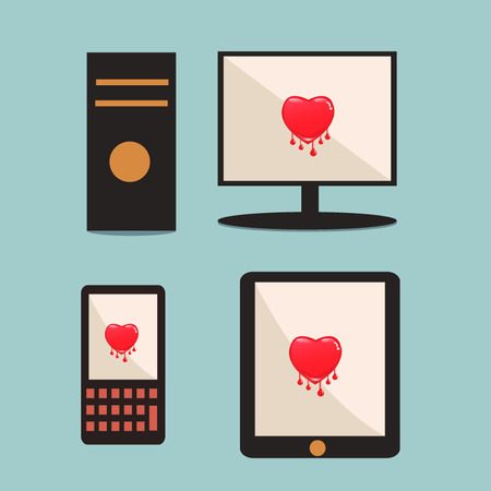 Heartbleed software bug on computer, mobile phone, tabet technology security concept  Vector