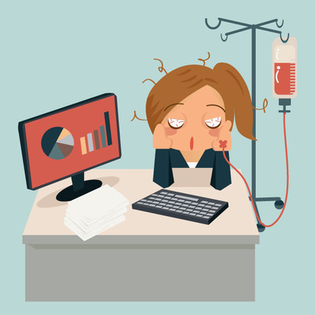 frustrated: Businesswoman sitting in office, looking tired and her hand attaching intravenous tube to medicine dropper