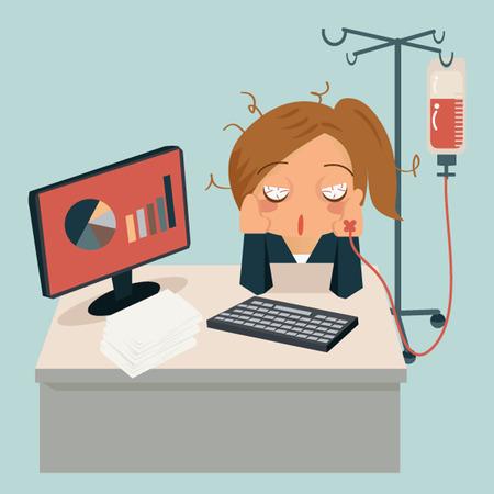 Geschäftsfrau sitzt im Büro, müde und ihre Hand Anbringen intravenöse Tropfrohr zur Medizin