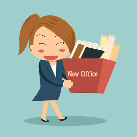 happy employee: Businesswoman moving into a new office or changing jobs carrying a cardboard box with her documents. Illustration