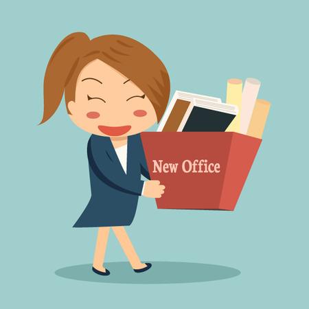 Zakenvrouw verhuizen naar een nieuw kantoor of veranderen van baan met een kartonnen doos met haar documenten. Stock Illustratie