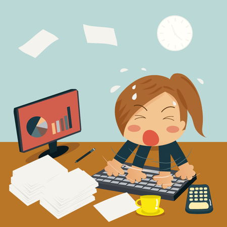 Businesswoman in Speedy Typing In Office on Desk among huge piles of documents and almost time out. Vector