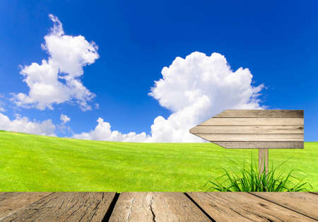 Arrow sign wooden board andLandscape of green field with blue sky  photo