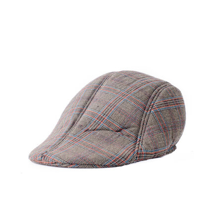 flat cap: Flat cap in grey and brown tweed isolated