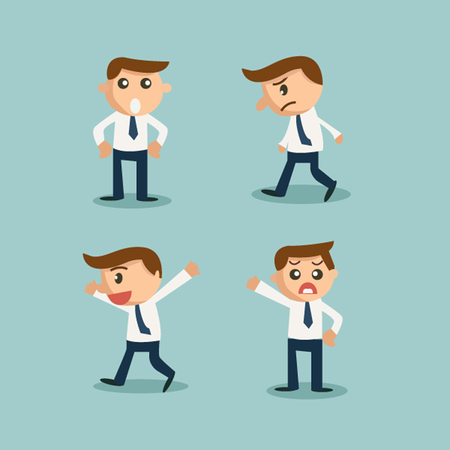 expressing: Businessman or office worker pose in various characters and emotion Illustration