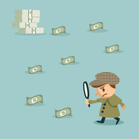 herlock: Using Magnifying Glass To Look at Money Vector