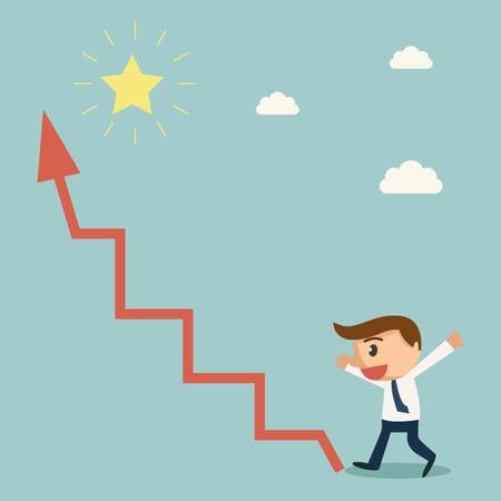 Homme d'affaires trouve flèche graphique moyen de l'étoile. concept de succès.