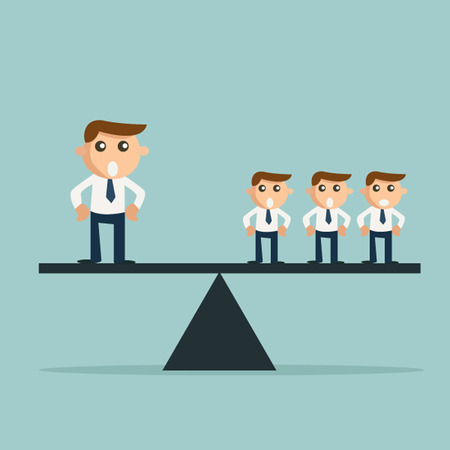 Businessman weighting more than three other business people on a balance on the scale. Man power concept Vector