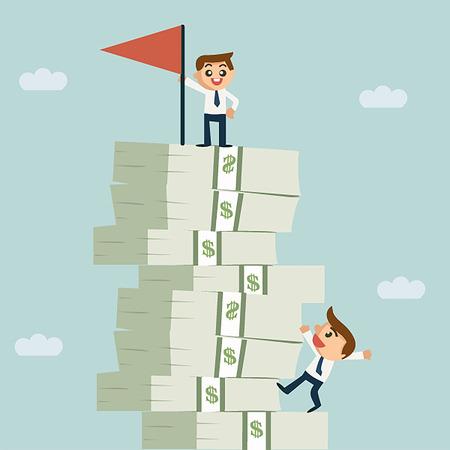 Erfolgreicher Geschäftsmann, der auf Wachstum Geld Treppe
