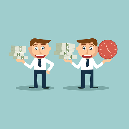 Business men are showing money and time comparison, wealth management concept. Vector