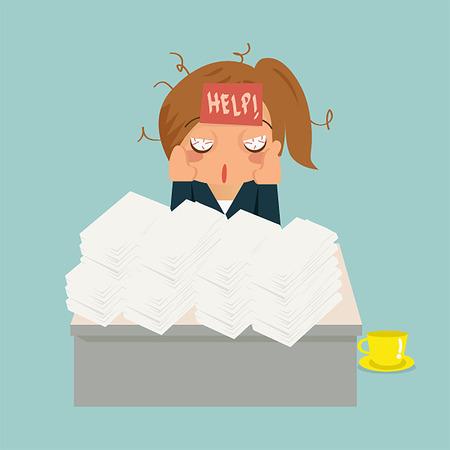 Business-Frau im Büro IST desperated und sehen sehr krank.