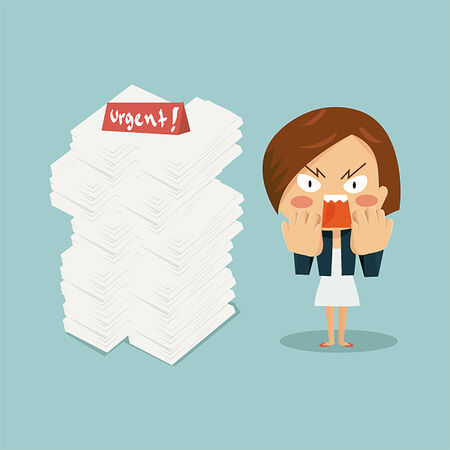 charactor: Business Woman in the office with surprise and angry face when see higher document piles for work.