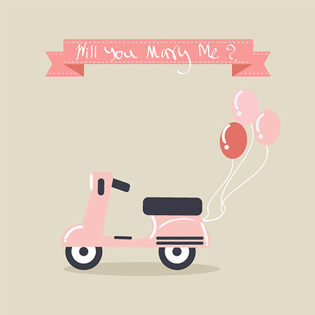 Pink Vintage scooter with balloons for proposal of marriage. Vector