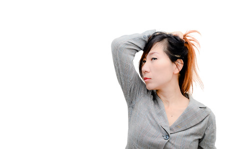 Portrait of an attractive stylish smart Asian woman. photo