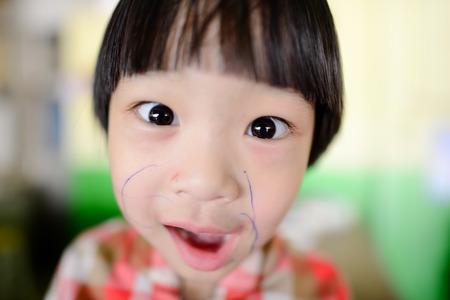 fish eye lens: Photo of a funny Asian girl taken by a fish eye lens