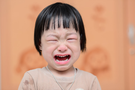 portrait of a cute little girl crying photo