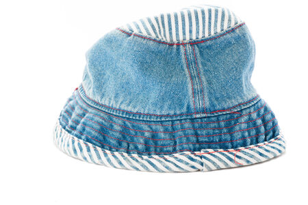 cloth cap: Blue fabric hat on white. Stock Photo
