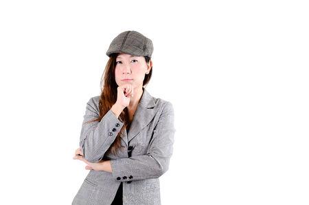 newsboy cap: Portrait of elegantly dressed  gorgeous Asian woman.
