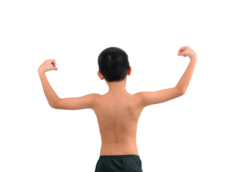 Back of Thin boy showing his muscles isolated on white background photo