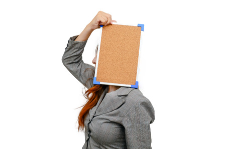 Stress woman with cockboard isolated on white. photo
