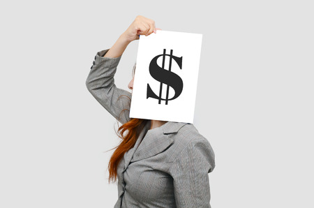 Business woman with white board and US dollar sign,money concept photo