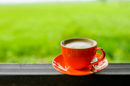 Orange coffee cup with nature bokeh background. photo