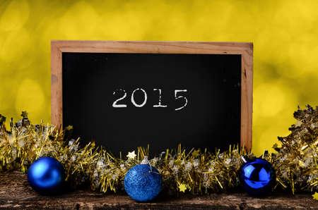 Blank blackboard with christmas decoration. photo