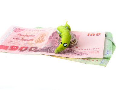 The image of a caterpillar and a money photo