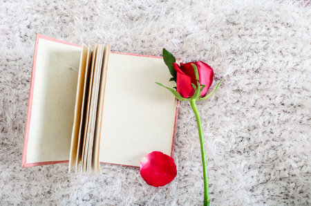 Red rose and Pink handmade mulberry paper notebook. photo