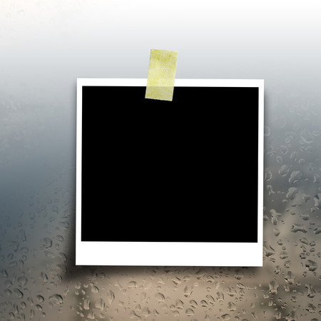blank photo on rain drop background with copy space photo
