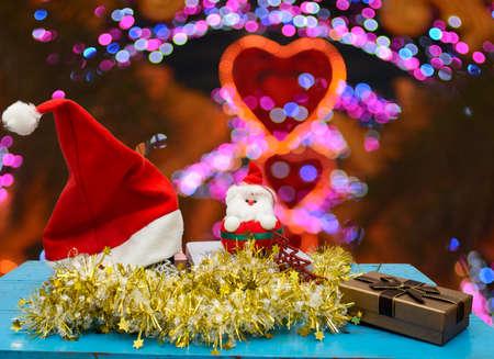 Christmas decoration with lighting bokeh background. photo