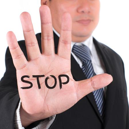 stop gesture: Business man showing stop gesture Stock Photo
