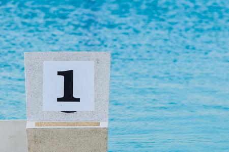 no1: Swimming pool starting block No.1 outdoor.