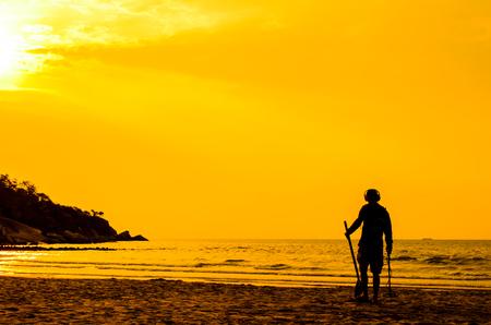 sun rise: Electronic beach combing, Hua Hin Thailand with sun rise.