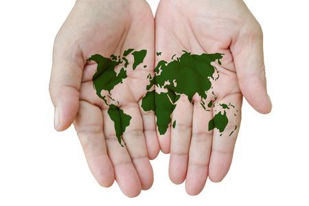 el mundo en tus manos: Mapa del mundo en sus manos aisladas en blanco.
