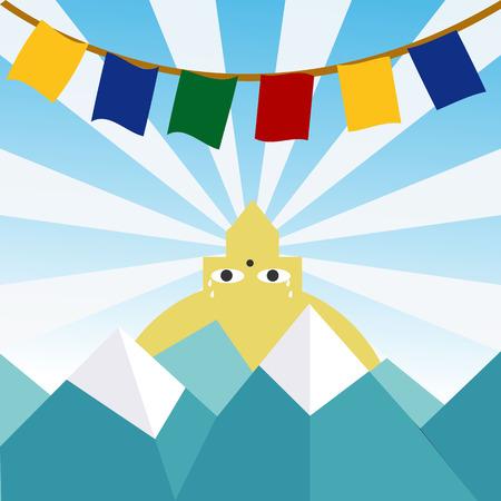 stupa: Crying Nepal Illustration