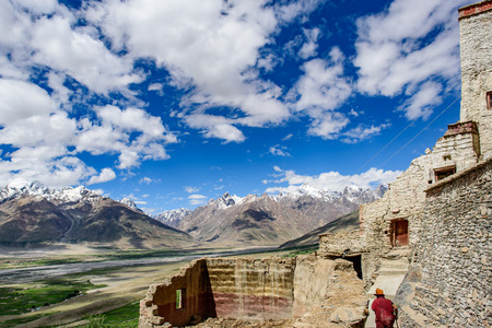 contryside: View of Kasha Monastery, Padum, Jammu and Kashmir, India.