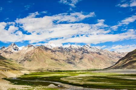 contryside: View of Zanskar Valley around Padum villange and great himalayan range- Ladakh, Jammu and Kashmir, India.