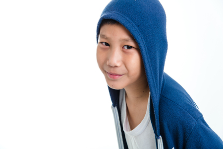 hooded: Asian boy in a hooded sweat shirt Stock Photo