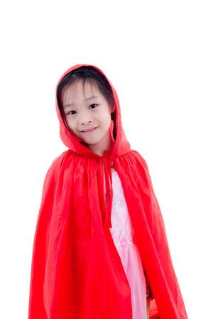 caperucita roja: Chica en traje de Caperucita Roja Foto de archivo