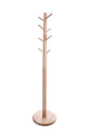 coat rack: Brown color wooden coat rack isolated on white background